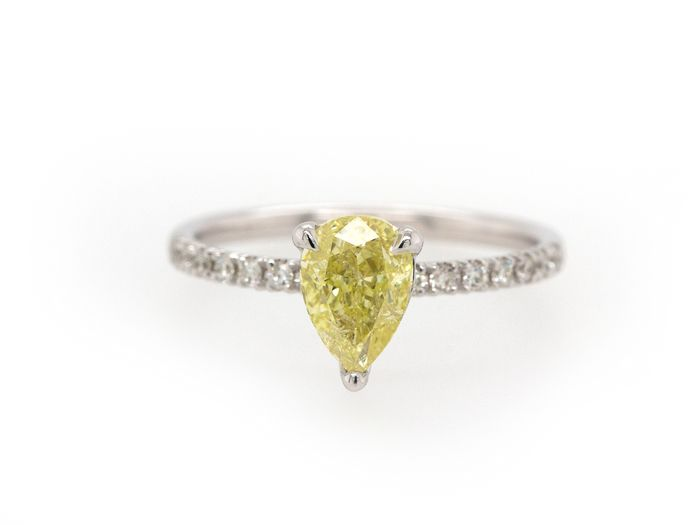 14 quilates Oro blanco - Anillo - 1.18 ct Diamante - Fancy Intense Yellow - Sin precio de reserva