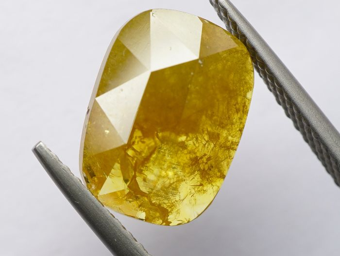 1 pcs Diamant - 2.99 ct - Kissen, Rosenschnitt - fancy orangy yellow - I3  No Reserve