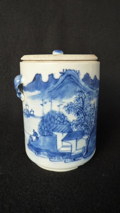 Tea jar and cover (1) - Blue and white - Porcelain - China - 19th century