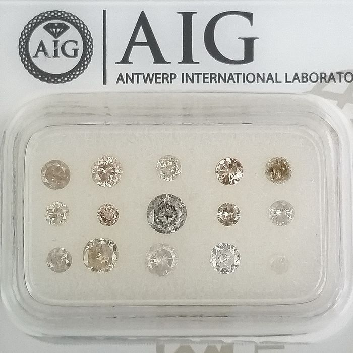 15 pcs Diamonds - 1.03 ct - Round - Mix Colors - I1, I2, I3 (piqué), SI2, ***No Reserve Price***