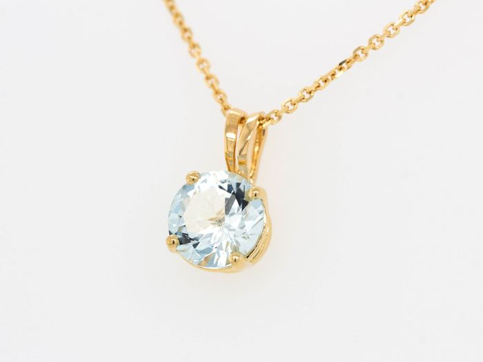 18 kt. Yellow gold - Necklace with pendant - 0.65 ct Aquamarine - Light Blue - No Reserve Price