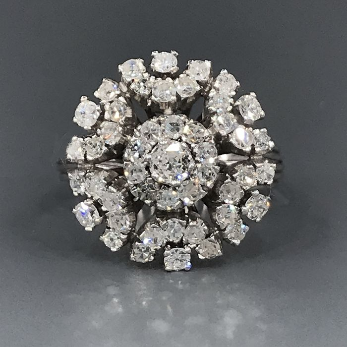 18 kt. White gold - Ring - 1.40 ct Diamond - Diamonds