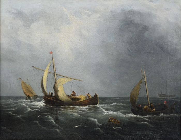 English school (19th century) - Fishing boats offshore in a gale