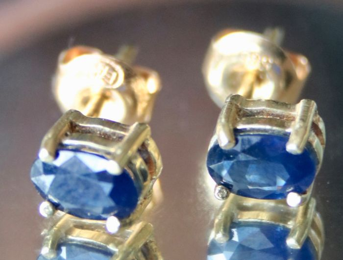 14 kt. Yellow gold - Earrings - 1.42 ct Sapphire