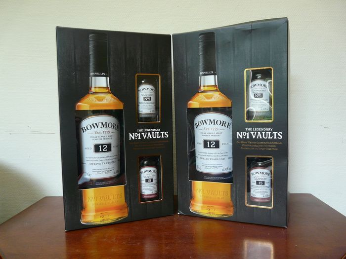 Bowmore 12 years old with 15 years old & No. 1 Vaults miniatures - 70cl - 5cl - 6 bottles