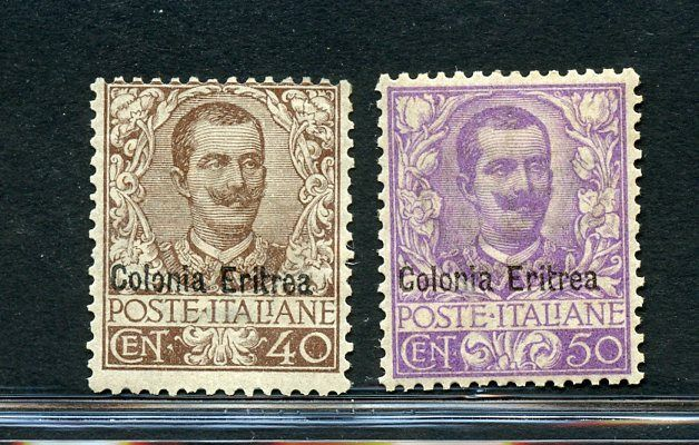 Eritrean Italian Colonies 1903 - Floral - 40 c. and 50 c. - Sassone NN. 25 - 27