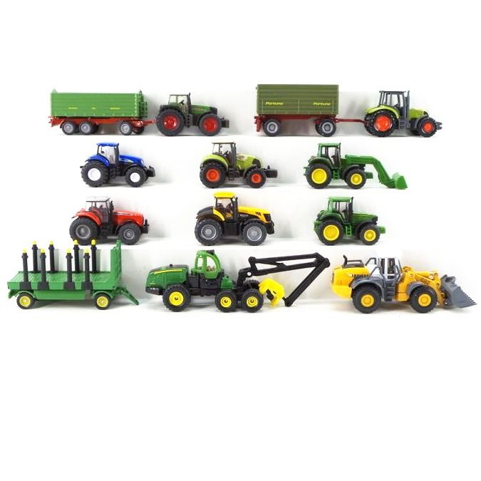Siku H0 - 1634/1878/1881/1870/1845/1873 - Scenery - 10 agricultural vehicles, track tower and bulldozer