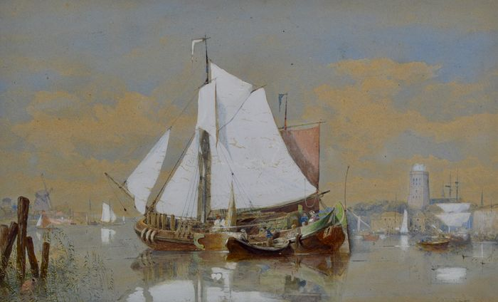 George Henry Andrews (1816-1898) - Ships before a coastline with cathedral and distant windmill