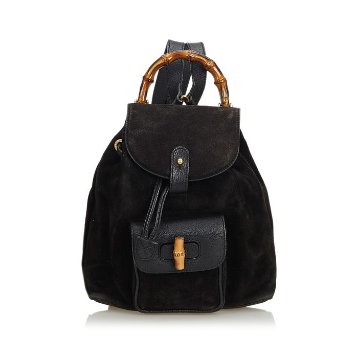Gucci - Bamboo Suede Drawstring Backpack Backpack