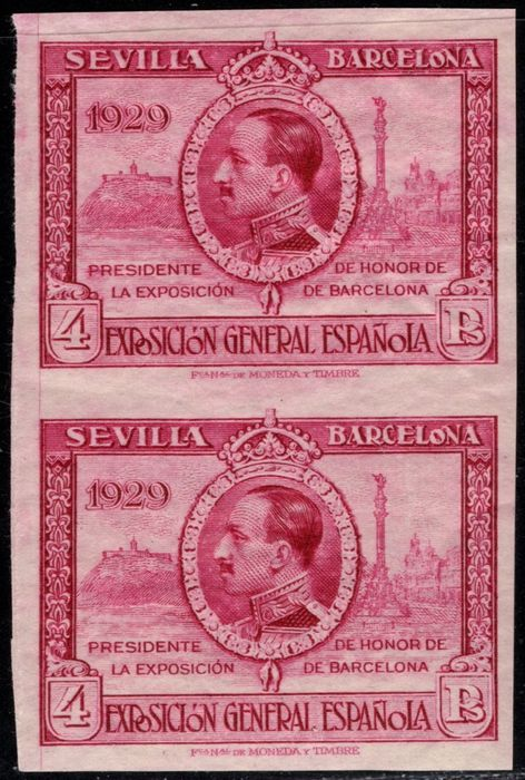 Spain 1929 - Pro-exhibitions in Seville Barcelona. 4 pts brown. Imperforated pair - Edifil 445s(2)