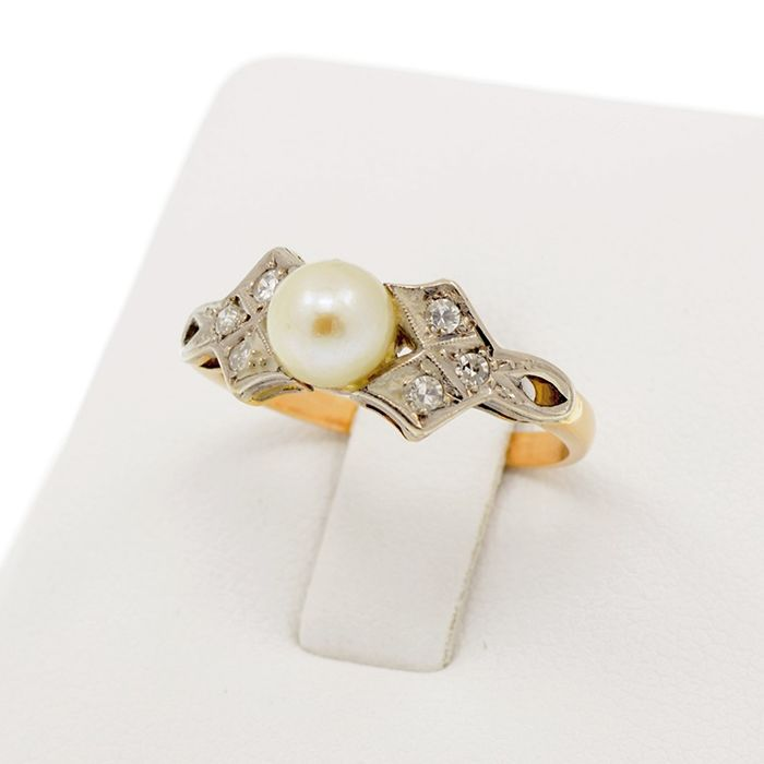18 kt. White gold, Yellow gold - Ring Pearl - 6 Diamonds 0.30 ct