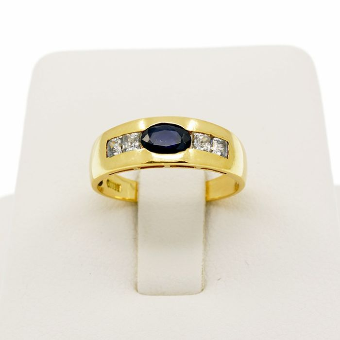 18 kt. Yellow gold - Ring Sapphire - Sapphire