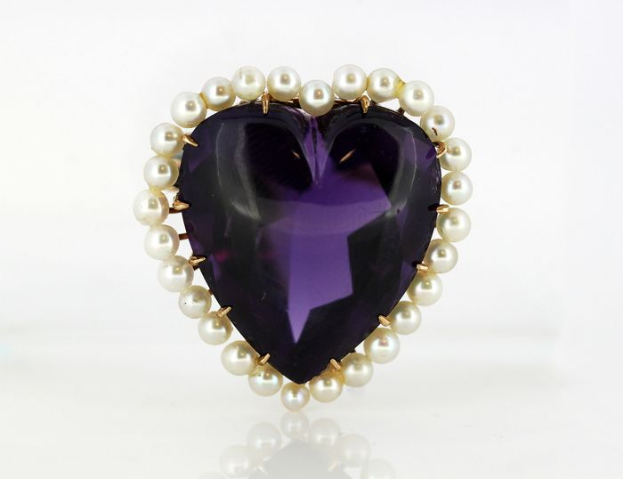 14 kt. Freshwater pearls, Yellow gold - Brooch - 20.00 ct Amethyst