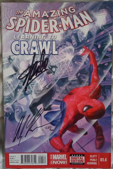 Marvels - The Amazing Spider-Man #1. 4 signed by Stan Lee and Alex Ross - First edition