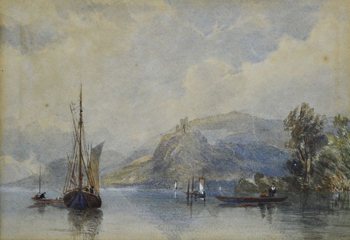 Continental school (19th century) - Continental landscape view of boats before a rocky shoreline