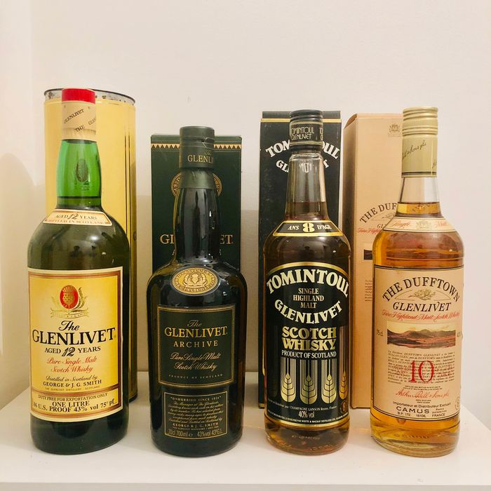 Glenlivet 12 years old & Archive - Tomintoul 8 years old - Dufftown 10 years old - Original bottling - b. 1980s, 1990s - 70cl - 75cl - 100cl - 4 bottles