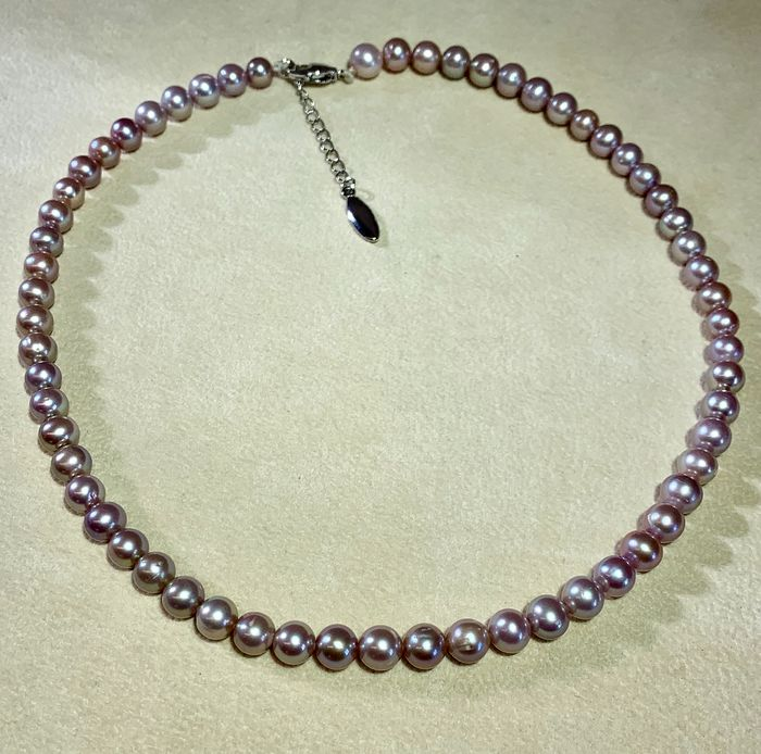 Steel Freshwater pearls, Steel, Natural purple colour # No Reserve Price # - Necklace