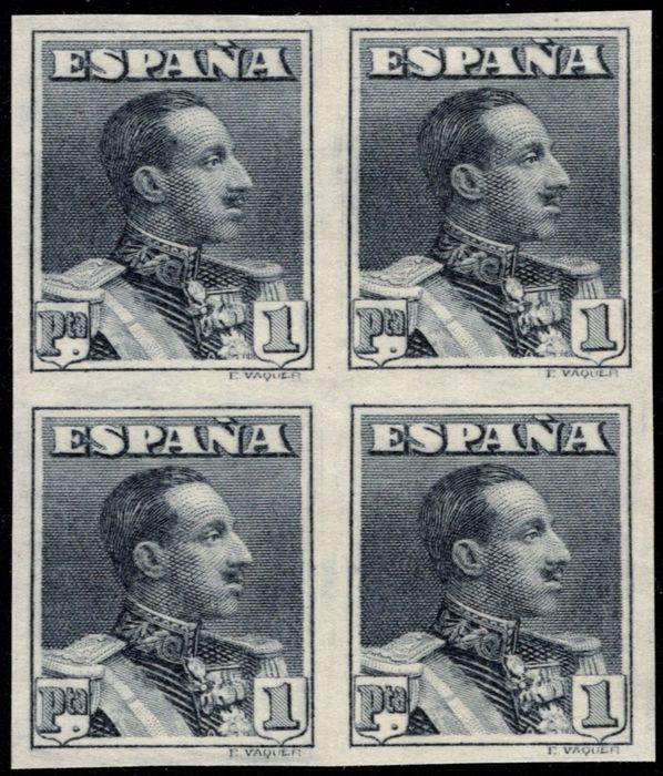 Spain 1922 - Alfonso XIII. Vaquer type. 1 pta slate grey. Block of 4 stamps. Imperforated. - Edifil Especializado Tomo II.2015 321sa(4)
