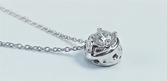 Alfieri&St.John - 18 kt. White gold - Necklace with pendant - 0.14 ct Diamond