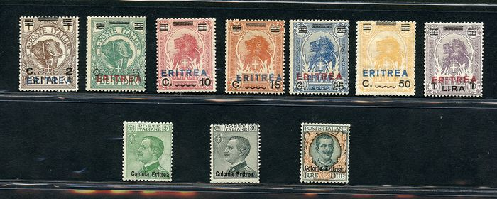 """Érithrée italiennne 1924/1925 - Small lot with values overprinted Eritrea, new value and """"Colonia Eritrea"""" - Sassone NN. 80/86 - 93/95"""