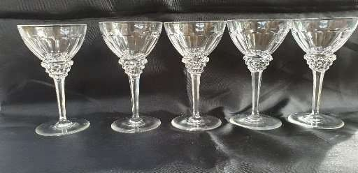 Jan Eisenloeffel  - Kristalunie Maastricht - Five Port glasses (marked), of which 1 glass 13.1 cm and 4 glasses 13.2 cm high - Crystal