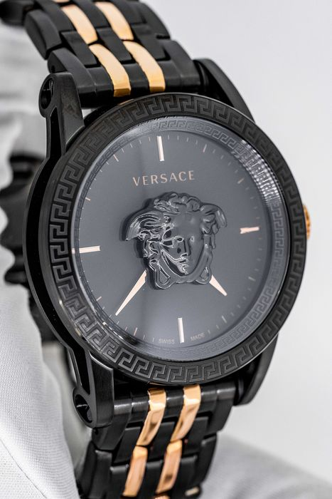 "Versace - Palazzo Empire Watch Two Tone Rose Gold and Black - VERD00618 ""NO RESERVE PRICE"" - Men - BRAND NEW"