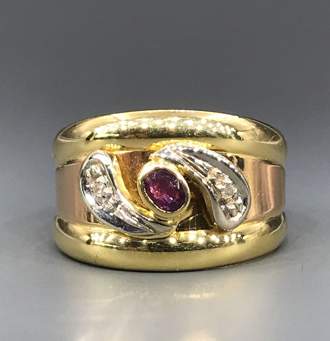 18 kt. White gold, Yellow gold - Ring - 0.01 ct Diamond - Ruby