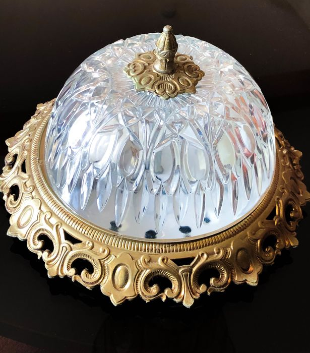 Art déco - Muurlamp, Plafondlamp - Art Deco - Brons, Kristal, Messing