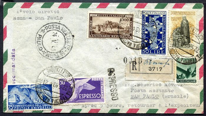 République d'Italie 1949 - Aerogramme of the first direct flight Rome-Sao Paulo stamped with the Roman