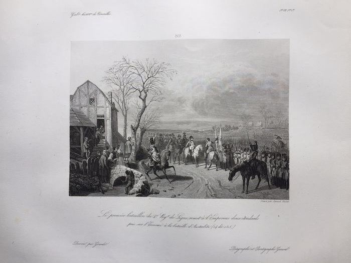 """Karl Girardet (1772-1820) / Samuel Cholet  - Diagraphe et pantographe Gavard - Very large old engraving """"The first battalion gives the Emperor two standards taken on - Thick, untrimmed vellum paper - original size"""