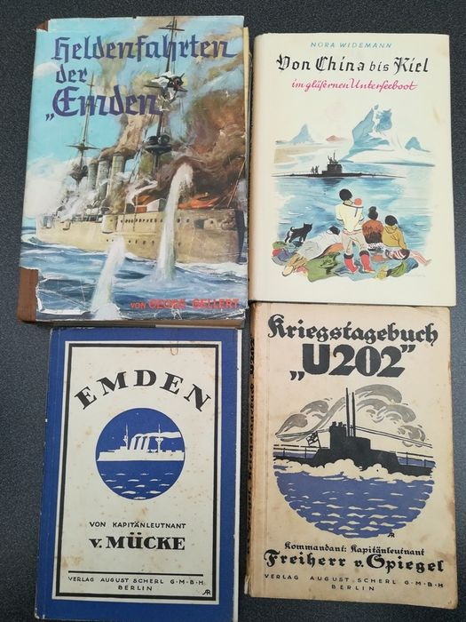 Germany - World War, Navy, Emden, U202 - Book, 4x books ships submarines children's books history