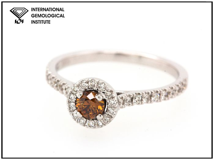 14 karaat Witgoud - Ring - 0.41 ct Diamant - Fancy Deep Brown Orange - SI2
