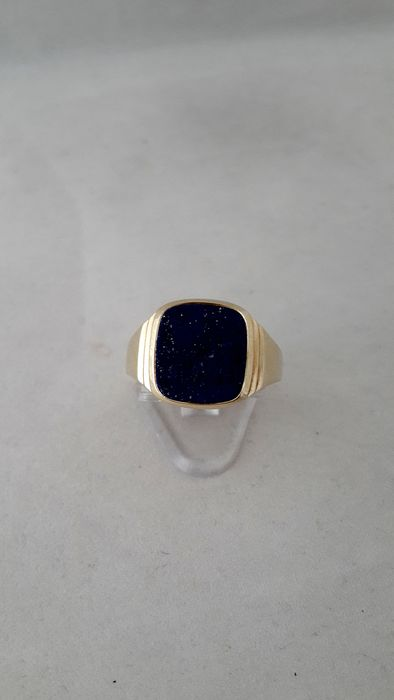 Antiquaire Paris - 14 carats Or jaune - Bague Lapis-lazuli