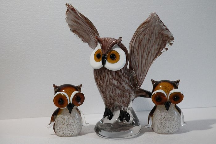 full glass owls in beautiful color set of 3 pieces (3) - Glas