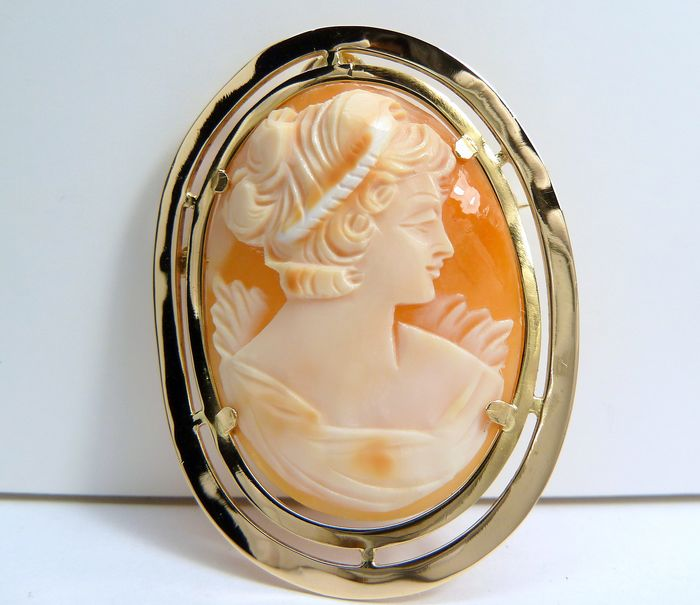 18 kt. Yellow gold - Brooch, Pendant Cameo