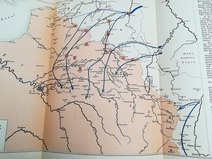 Germany - historical map, France, Belgium, Netherlands, Europe - Book, Maps & sketches for the World War 1914/15 1st & 2nd part of the First World War - 1916