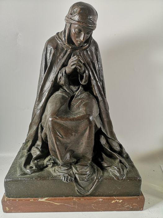 Augusto Rivalta (1837 - 1925) - Sculpture, woman in prayer - Bronze (patinated) - Late 19th century