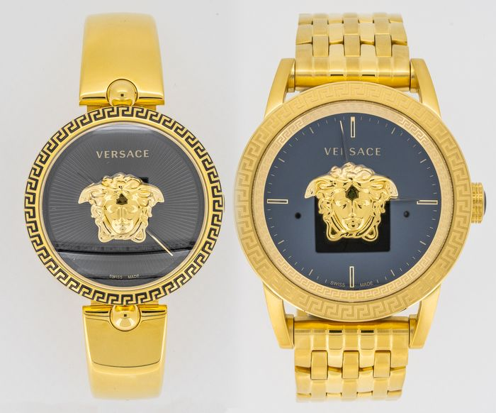 Versace - Palazzo Empire Couple Watches Black and Gold Swiss Made - VCO100017 and VERD00819 - Unisex - Brand New