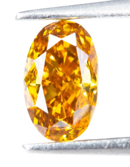 Diamant - 0.31 ct - Natural Fancy VIVID Orange-Gelb - SI2  *NO RESERVE*