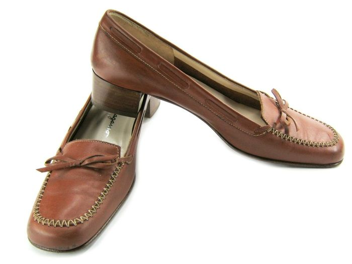 Salvatore Ferragamo Womens Real Leather Slip On Shoes Loafers - Size: EU37 UK5 US 6.5