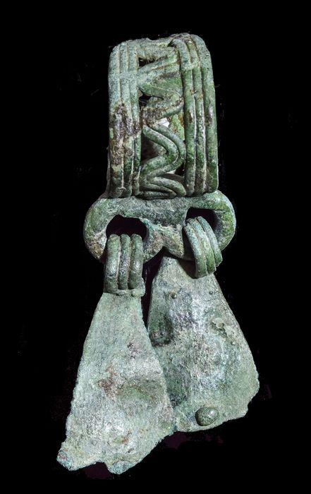 Medieval Viking Bronze Open Work Ring with Tassels