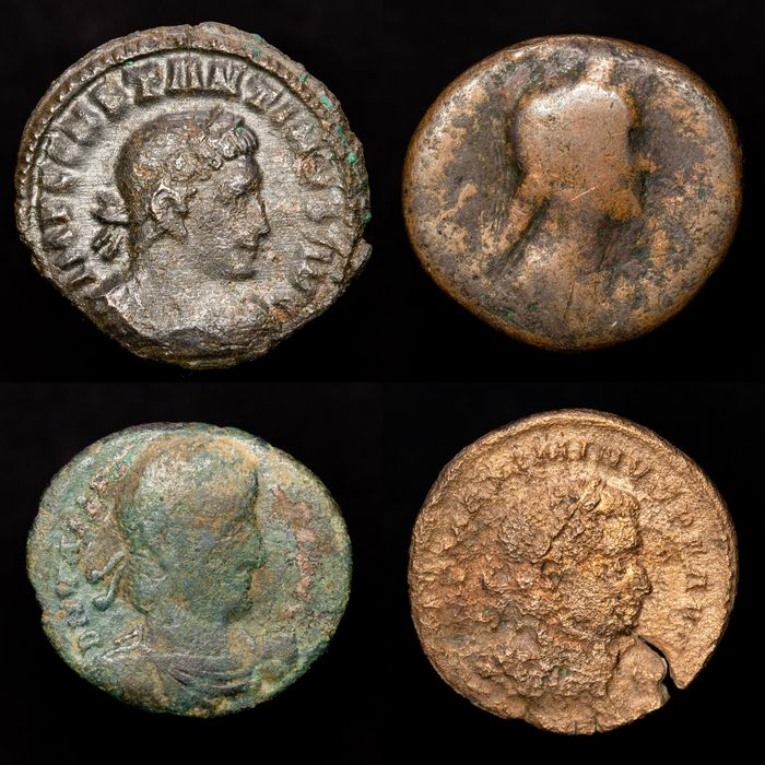Roman Empire - Lot comprising 4 AE coins: - Constantine I The Great (2) Sol and Scarce Marti; Sabina As and Valens.