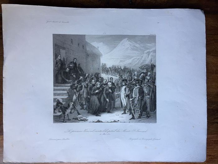 """Lebel (1772-1830)/Loeillot/François - Diagraphe et pantographe Gavard - Large old engraving """"Napoleon at Mont St Bernard 20 May 1800"""" (1) - Thick Vellum paper, trace of engraving plate clearly visible"""