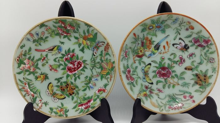 placas (2) - Famille rose - Porcelana - China - siglo XIX