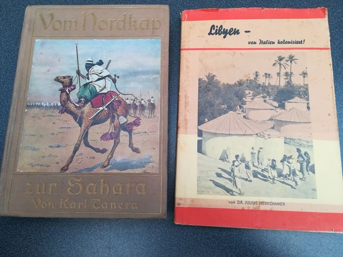 Germany - Colonies, Africa, business, adventure - Book, 2x Libya - colonized by Italy (1941), from the North Cape to the Sahara (circa 1916)