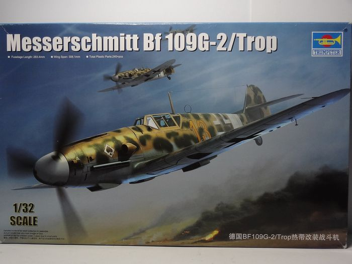 Trumpeter - kit in plastica e parti foto incise  da assemblare e dipingere - 2295 - large kit: length approx: 32 cm - width 31 cm. Messerschmmitt BF 109 G-2 tropical version - 1940-1949 - Germany