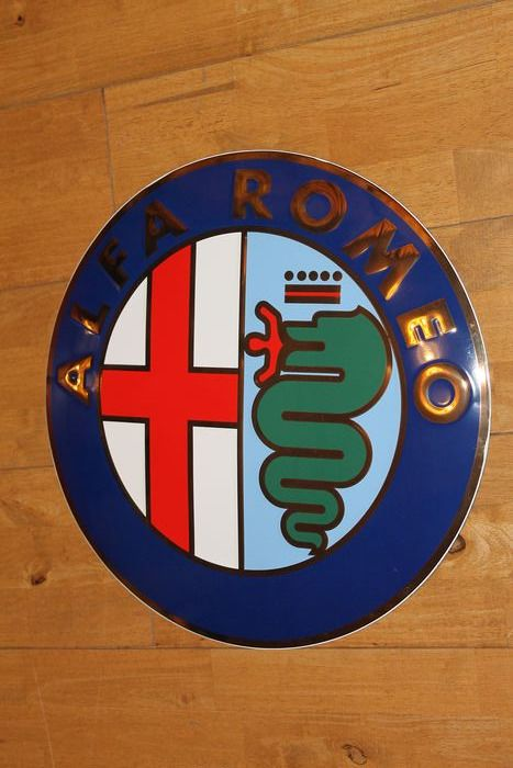 Signalisation - Rare Alfa Romeo Gold Plated Dealership Wall Sign With Authentication Certificate - Alfa Romeo
