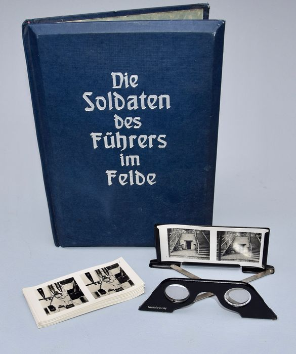 "Germany - WWII Raumbildalbum ""Soldiers of the Führer in the field"" Blue cover, complete! 1940 - Album"