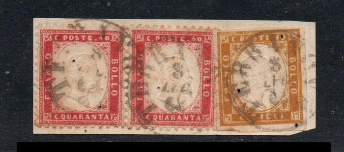 Italië koninkrijk 1862 - 10 cents ochre yellow; 40 cents carmine pair on fragment with Newfoundland cancellation - Sassone NN. 14Dd; Regno N. 3