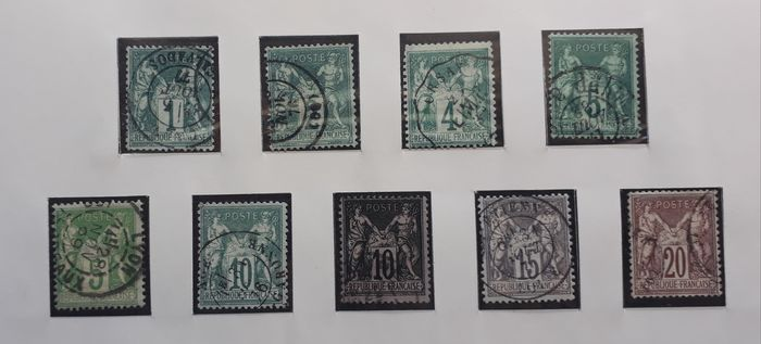 France 1876/1929 - Collection - Sage type I and II, Merson - cancelled